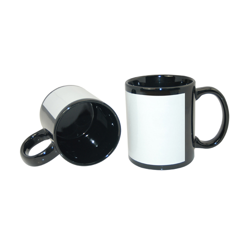 Carton of 36 - 11oz Black Mug with White Patch for Sublimation
