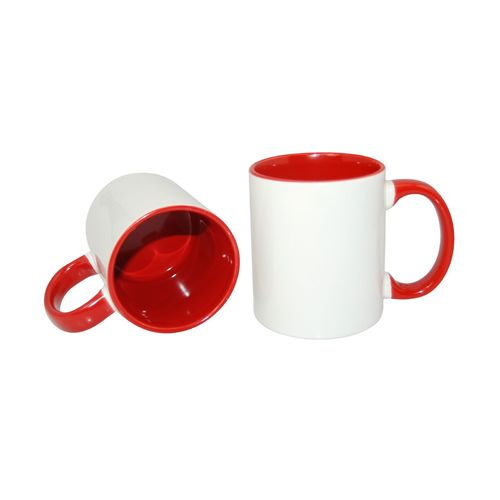 Carton of 48 - 11oz Sublimation Mugs - Red Coloured Handle and Inner