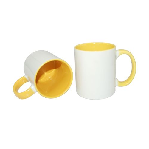 Carton of 48 - 11oz Sublimation Mug - Yellow Coloured Handle and Inner