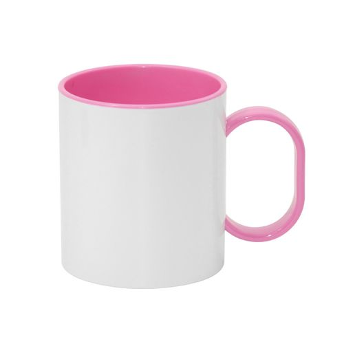 Carton of 48 - 11oz Sublimation Mug - Pink Coloured Handle and Inner