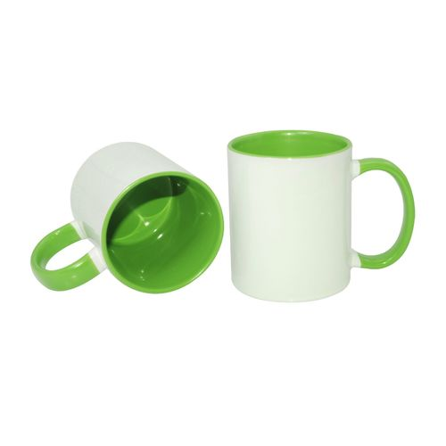 Carton of 48 - 11oz Sublimation Mug - Light Green Coloured Handle and Inner