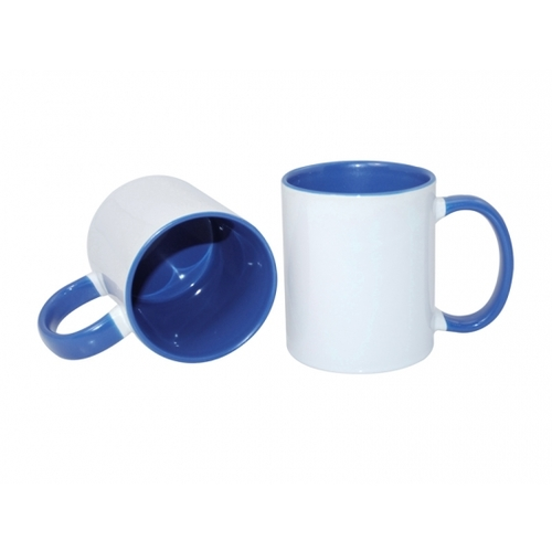 Carton of 48 - 11oz Sublimation Mug - Blue Coloured Handle and Inner