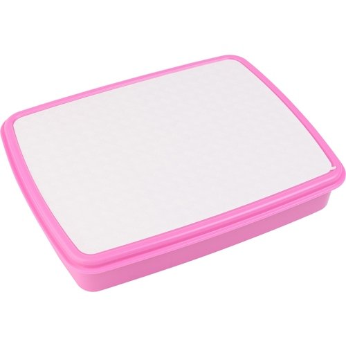 Pink Plastic Lunch Box with Snack Boxes and Sublimation Insert