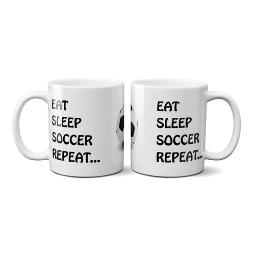 OAS Eat Sleep Soccer Repeat Mug with Large Ball
