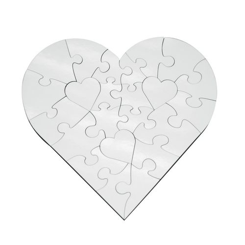 23 Piece Heart Shape Jigsaw Puzzle for Sublimation - Hard Board